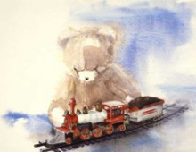 Bear Playing with Train